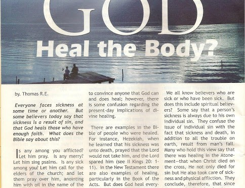 "Confident Living Magazine Articles: A to Z Blog Challenge Alphabet ""D"" Does God Heal T..."