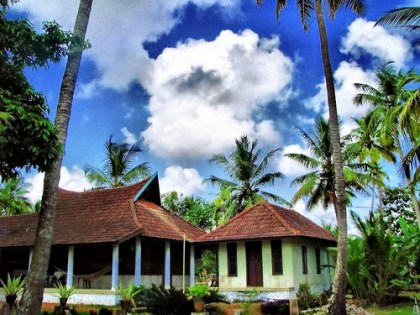 Typical Kerala house surrounded by trees
